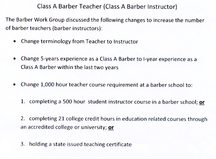 Barber Teacher Handout